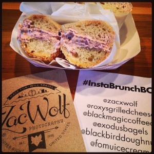 Sesame Bagel (batch 79) with blackberry cream cheese